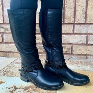 Remonte Reiker Leather Tall Black Winter Riding Boots